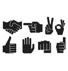 Hand gesture silhouettes vector
