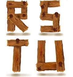 Wooden r s t u vector