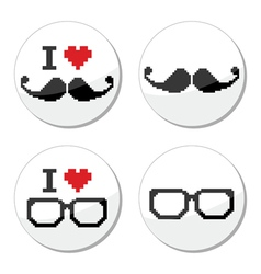 I love glasses and mustache moustache icons set vector