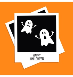 Instant photo with two funny ghosts halloween vector