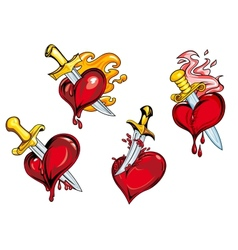 Bleeding hearts stabbed by daggers vector