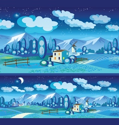 Countryside at night vector