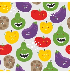 Crazy fruits and vegetables seamless pattern vector