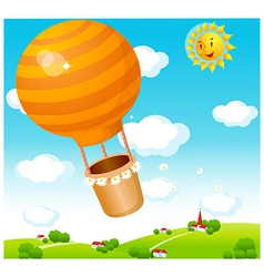Air balloon over town vector