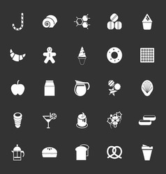 Sweet food icons on gray background vector