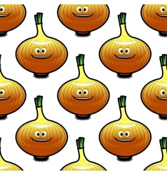 Seamless pattern with golden onion vegetable vector