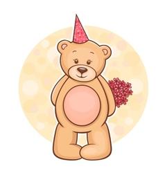 Teddy bear flowers vector