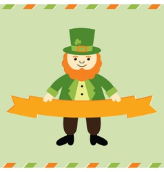 St patricks day leprechaun card vector