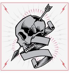 Skull arrow and ribbon vector