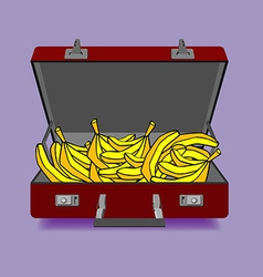 Outdoor suitcase with banana vector