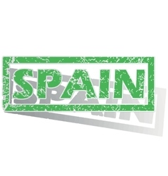 Green outlined spain stamp vector