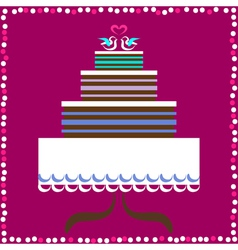 Wedding cake with doves vector