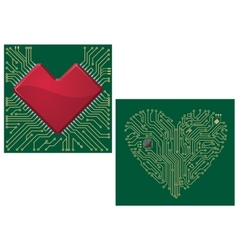 Computer motherboard with heart vector