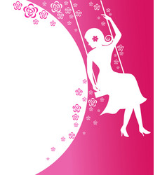 Beautiful women sit on flower swing on pink vector
