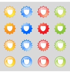 Shield sign icon protection symbol set colour vector
