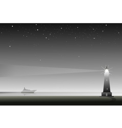 Lighthouse at night vector