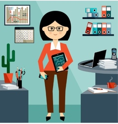 Business woman in the style flat design vector