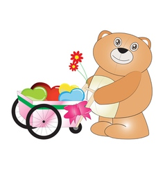 Happy teddy bear carry hearts with the wheels vector