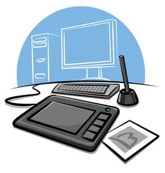 Digital graphic tablet vector