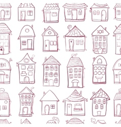 Seamless pattern with outine houses vector