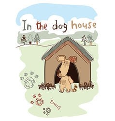 In the dog house embroidery vector