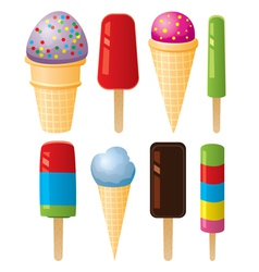 Colorful icecream and popsicles vector