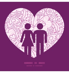 Pink flowers lineart couple in love silhouettes vector