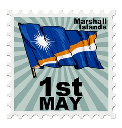 Post stamp of national day of marshall islands vector