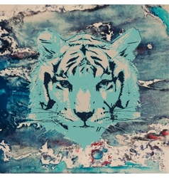 Sketch of a tigers face on watercolor background vector