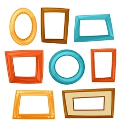 Set of color various frames on white background vector