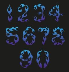 Set of figures in the shape of blue fire isolated vector