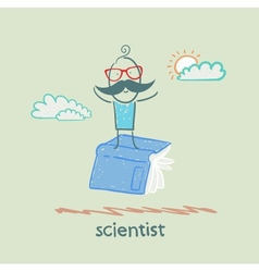 Scientist is flying on a book vector