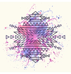 Decorative ethnic pattern with watercolor splash vector