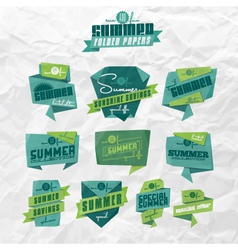 Summer origami labels vector