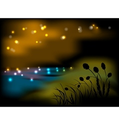Night landscape with flowers and grass vector