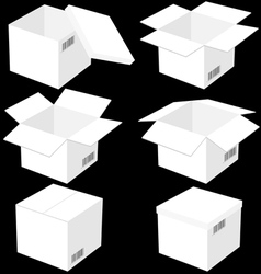 Six boxes isolated on black background vector