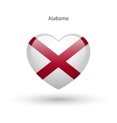 Love alabama state symbol heart flag icon vector