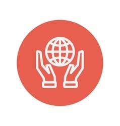 Two hands holding globe thin line icon vector