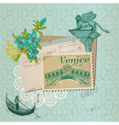 Scrapbook design elements - venice vintage card vector