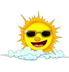 Sun cartoon with eyeglasses vector