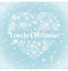 Lovely christmas texts on heart shape snowflakes vector