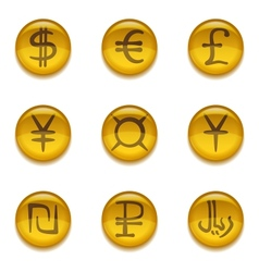 Buttons with currency signs set vector