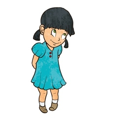 Cute shy cheerful little girl in blue dress vector