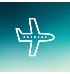 Flying airplane thin line icon vector