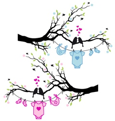 Baby boy and girl clothes with birds on tree vector
