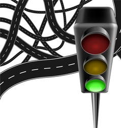 Traffic background with traffic lamp and roads vector