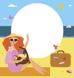 Fashionable woman on vacations frame design vector