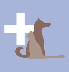 Veterinary cross cat and dog logo vector