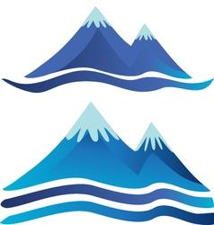 Blue mountains logos vector