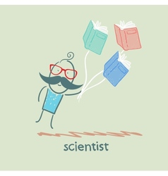 Scientist flies with books vector